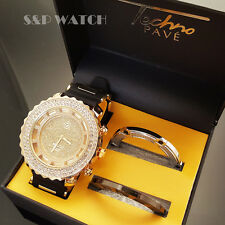 Men Gold Finished Techno Pave Clear Simulated Diamonds Watch and 2 extra Bezels