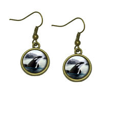 Orca Killer Whale Dangle Dangling Drop Earrings