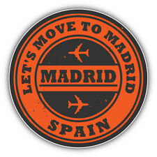 "Madrid City Spain Travel Stamp Car Bumper Sticker Decal 5"" x 5"""