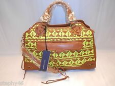 NEW! NWT! REBECCA MINKOFF Almond Neon Yellow DESIRE Satchel Shoulder Xbody $495
