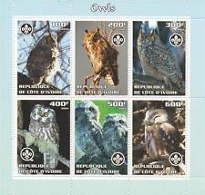 OWL WILD BIRDS REPUBLIQUE DE COTE D'IVOIRE 2004 MNH STAMP SHEETLET