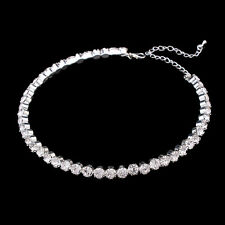 Bridal Silver Plated 6MM Clear Rhinestone Choker Statement Necklace Pageant Gift