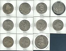 Malaysia 1, 5 Ringgit Commemorative Coins 9 Species / 11Pcs Lot, 1969-1990, UNC