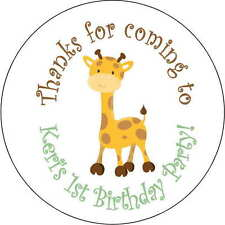 12 jungle giraffe stickers Birthday Party 2.5 Inch Personalized shower baby