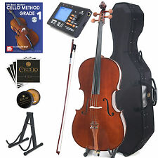 CECILIO 4/4 CCO-300 SOLIDWOOD CELLO OUTFIT +HARD & SOFT CASE, TUNER, BOOK, STAND