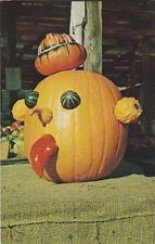 "+PC-Postcard-Halloween-""The Decorated Pumpkin"" ...Fresh Vegetables-/New England"