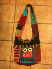 RISING INTERNATIONAL NEPAL PATCHWORK OWL FRINGE TOTE BOOKBAG MESSENGER PURSE NEW