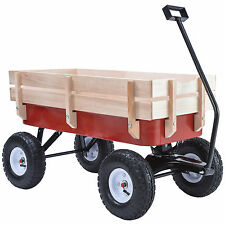 330LB ALL Terrain Pulling Outdoor Wood Wagon Garden Cart Children Red Railing