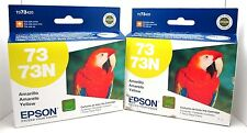 LOT OF 2 EPSON 73/73N YELLOW INK CARTRIDGE GENUINE/SEALED BAG GREAT DEAL