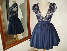 ChiChi London Blue lace & Nude Cap Sleeve Party Dress Tulle Petticoat US 2 NWOT