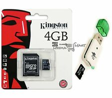 Kingston 4GB Micro SD SDHC MicroSD Flash Memory with Adapter + USB Card Reader