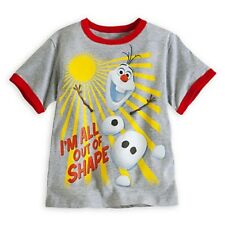 "DISNEY STORE FROZEN OLAF RINGER TEE BOYS SIZE 5/6 ""I'M ALL OUT OF SHAPE"" NWT"