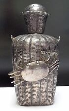 Antique Chinese Genuine SILVER Snuff Bottle Oranate Crab on Basket SIGNED RARE!!