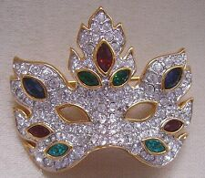 Signed Swarovski Mask Brooch Pin