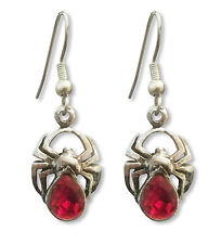 Spider Earrings with Red Austrian Crystal Silver Finish Pewter Jewelry #961
