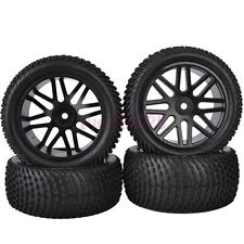 4PCS RC 1/10 Off-Road Buggy Car Front&Rear Rubber Tyre Tires Wheel Rim 6615BS