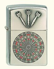 Zippo Feuerzeug Dartboard Emblem Nr. 1300091, Chrome brushed, Chrom gebürstet