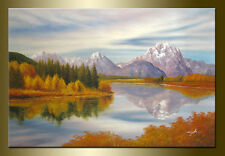 Tibet lake hand painted landscape oil painting bestbid_mall F521