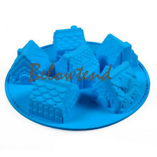Silicone 3D House Chocolate Muffin Jelly Ice Mold Cake Bakeware Tray Mould XMAS