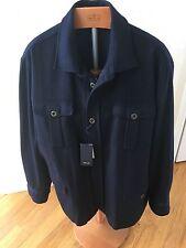 NWT Façonnable navy wool military sport coat Sz XXL double vent