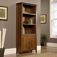 Sauder Carson Forge Library Bookcase with Doors - Cherry, Cherry