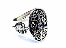 Men's Silver The Knight Of Honor Shield Diamond Ring by Sacred Angels