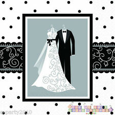 BLACK AND WHITE WEDDING SMALL NAPKINS (16) ~ Bridal Party Supplies Beverage Cake