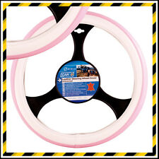 PINK & WHITE 'PINKY' LEATHER STEERING WHEEL COVER /GLOVE - UNIVERSAL 37CM - 39CM