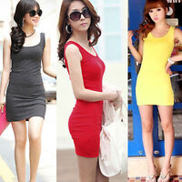 Women Stretch Bodycon Vest Cotton Mini Dress Candy Color Basic Sundress Slim Top