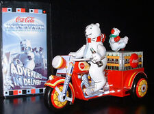 Motorcycle Motortrike with Polar Bear Tin wind up Coca-Cola toy with COA in box