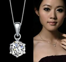 18K White Gold Filled  Austrian Crystal 6mm Diamond Lady Necklace Pendant N484