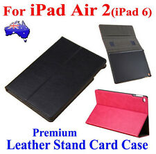 Premium Leather Stand Holder Case Card Cover For iPad Air 2(iPad 6) S/W Function