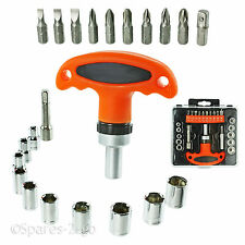 23 Pc T Handle Screwdriver Nut Mini Ratchet Socket Set Cycle Bike Compact Tool