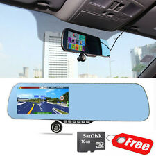 "16GB 5"" Android GPS Car DVR Rearview Mirror Rear Camera Recorder Parking T8400"