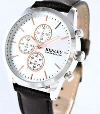Henley Mens Real Leather Chronograph Watch Brown Strap Sports 6 Hands Stopwatch