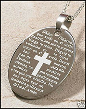 Our Father, Padre Nuestro Spanish Engraved Pendant  NIB (PD086)