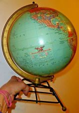 """Vintage Mid Century Replogle reference 10"""" Desk Top Globe Wire hairpin base"""