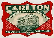 Carlton Hotel CAPE TOWN South Africa * Old Luggage Label Kofferaufkleber