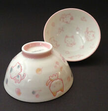 "2 PCS. Japanese 4-1/8""D Children Porcelain Happy Cats Rice Bowls, Made in Japan"