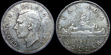 1952 Canada One Silver Dollar George VI Short Water Line AU-58