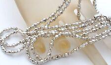 "Milor Diamond Cut Sterling Silver Bead Necklace 54"" Chain Strung 925 Italian"