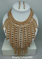 Big Bib Statement Necklace Large Huge Chunky Fashion New Women Gold Chain Long