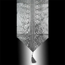 LUXURY SHINY GRAY SILVER SEQUINS EMBROIDERY DECORATIVE TASSEL TABLE RUNNER CLOTH