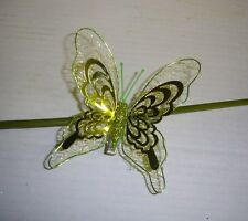 Pack x3 Large Size Metallic Clip On Butterfly Christmas Decoration 4in Green