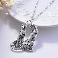 Charms Tibet Silver Tiger Leopard Head Body Pendants Long Necklace Sweater Chain