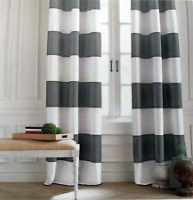 Tommy Hilfiger CABANA STRIPE Gray White Window Curtain Panels 50x96 PAIR Grommet