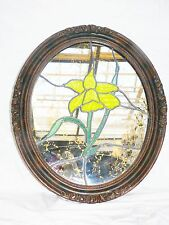 Vtg Stained Glass Leaded Yellow Lily Picture Wall Mirror Gold Vein Framed Oval