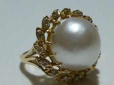 INCREDIBLE DESIGNER 14K GOLD DIAMOND & 13-14mm PEARL WOMENS ESTATE RING BAND