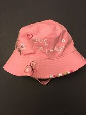 NWT BABY GAP GIRLS INFANT UP TO 6 MONTHS SUN HAT PINK EMBROIDERED FLOWERS 0-6 MO