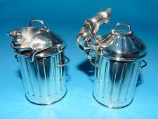 ASPREY Sterling SILVER SALT & PEPPER Shakers RARE Figural Alley CAT &GARBAGE CAN